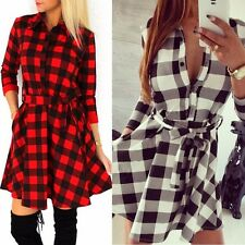 Womens Check Shirt Mini Dresses Ladies Long Sleeve Plaid Romper Dress Size S-XL