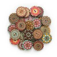 Wooden Sewing Pcs 20/25mm 2 Round Craft Buttons Wood Scrapbooking DIY Holes*100
