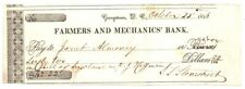 1856~Vignette Georgetown,Dc Farmers & Mechanics Bank Check~Pioneer Signatures