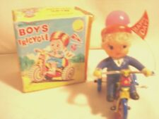 Vintage....Wind-Up...Mechanical...Boys. ..Tricycle...Revolving..Bell..Korea.
