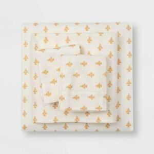 Printed Gold Flower Fall Twin Flannel Sheet Set Threshold