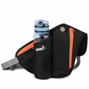Running Belt with Water Bottle Holder Waterproof Bum Bag Waist Sport Fanny Pack