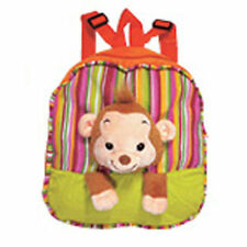 "Backpack 11"" Zipper Compartment Monkey Head Plush Green Orange Stripes New"