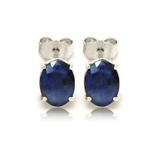 2.00 Ct Oval Cut Solitaire Blue Sapphire Earrings 14K White Gold Studs Earring
