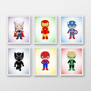 Superheroes wall prints, Superheroes nursery wall art, Superhero wall decor