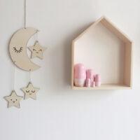 Nordic Simple Moon Cloud Star Wooden Wall Hanging Decor DIY Craft Kids Bedroom