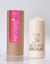 """Hochzeits Kerze """"2 Mal Ja Alles Klar"""" in weiß & grau - Höhe 19 cm-von Kerzilein"""