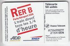 VARIETE TELECARTE FRANCE .. 50U F786B SO7 SNCF RER A COLLE A784990777 TBE C.60€