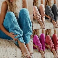 Women Casual Pull-On Loose Sleepwear Fur Trousers Loungewear Fluffy Fleece Pants