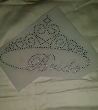 Rhinestone Bride with Tiara Pageant Crown Hotfix Iron On Transfer Bling