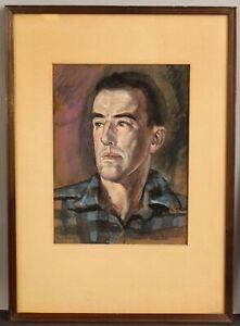 Antique Orig CYRUS L BALDRIDGE Watercolor Portrait Painting, Maine Woodsman Man
