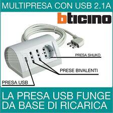 Multipresa elettrica ciabatta BTICINO da scrivania con USB bianca S3711DU DA TAV