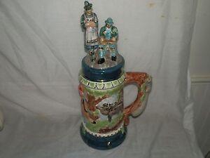 Vintage, Beer Stein, Ceramic, Raised Figures, Lidded, Beer Stein