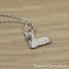 Silver Yorkshire Terrier Charm Necklace - Yorkie Puppy Dog Pendant Jewelry NEW