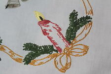 Pink Christmas Candles & Gold Ribbons! Vtg Hand Embroidered Tablecloth
