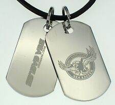 MANLY SEA EAGLES NRL LOGO MENS DOUBLE DOG TAG S/S LEATHER NECKLACE JEWELLERY