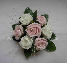 FLOWERS PINK/WHITE WEDDING CAKE TOPPER/TABLE DECORATION/FISH BOWL CENTREPIECE