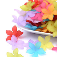 50 Transparent Acrylic Flower Beads Frosted Colorful Large Bead Caps Matte 29mm