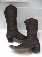 Ladies brown leather ZARA BOOTS size UK 5 rock chick biker riding cowboy