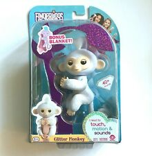 "WowWee Fingerlings Glitter Monkey White ""Sugar"" w/ Blanket Fingerling ~ IN HAND"