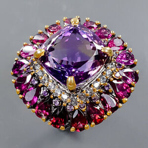 10ct+ Handmade Amethyst Ring Silver 925 Sterling  Size 9 /R178251