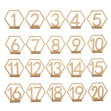 20 Sets Wooden Hexagon 1-20 Table Numbers for Wedding Party Decoration