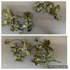 Vintage Mid Century Modern Brass Hummingbird Wall Decor Hanging