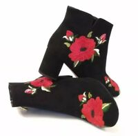 Kate Spade Langton Embroidered Suede Black Ankle Boots Red Floral Booties Sz 6.5