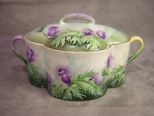 Rosenthal Hand Painted Cracker Jar ~ Purple Thistles ~ Chapman ~ 1967