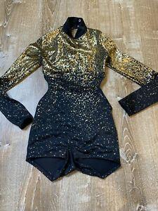 Weissman Girls Medium Black Gold Speckle long sleeve Dance Recital Costume MC