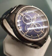 Mens Genuine Seiko Chronograph Solar Titanium Navy Blue SSC365P1