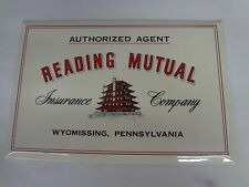 VINTAGE ADVERTISING READING MUTUAL INSURANCE CELLULOID OVER CARDBOARD SIGN M-523
