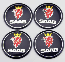 4X 56mm Car Wheel Center Caps Rim Hub Cover Decal Sticker For SAAB Accessories