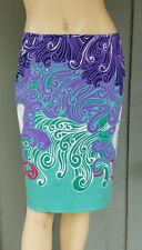 NWT TAHARI Behnaz Skirt 6 Stretch Cotton Bora Bora Print $158