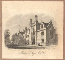 antique litho view Merton College Oxford England 1850