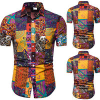 Men Luxury Floral Short Sleeve Shirt Causal Slim Fit Summer T-Shirt Top Oversize