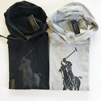 NWT Polo Ralph Lauren Men's Big Pony Jersey Hooded T-Shirt Black Grey