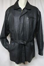 WILSONS LEATHER JACKET Black Car Coat w/Belt Insulated Medium/Tall Large