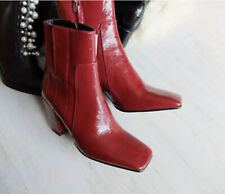 Zara Red Leather High Heel Ankle Boots Size EU38 UK5 US7.5 # 610