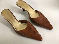 BCBGirls Brown Leather Pointed Kitten Heels Size 8.5  EU 38.5