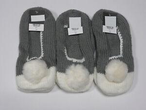 Ladies 3 pairs Slipper Socks Pom Poms Ex Retail Grey White Bargain Deal
