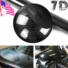 7D Ultra High Gloss Black Carbon Fiber Vinyl Wrap Sticker Decal Air Release 6D