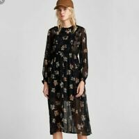 NEW Women's Zara Floral Printed Long Sleeve Long Dress in Black, Size Medium