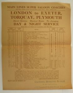 MAIN LINES SUPER SALOON COACHES u/d c1930s ~ LONDON TO PLYMOUTH EXPRESS T/T