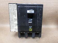 Square D 3 pole 40 amp Qob3401021 Circuit Breaker Qob340-1021 Yellow shunt trip