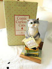 BORDER FINE ARTS ~ COMIC CURIOUS CATS ~ THE BOOK KEEPER (BOOKSTOP) A1890