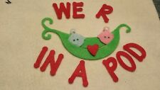 Felt die cut 'peas in a pod' applique toppers craft sewing