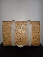 ANNE KLEIN Womens Cork Hand Bag Large Tote Shopper Shoulderbag Beige / Gold Logo