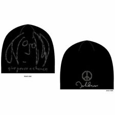 John Lennon Give Peace A Chance Black Beanie Hat Face Signature Beatles Official