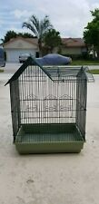"""bird cage, 18""""x13""""x21"""" ;, green, metal, used, tray included"""